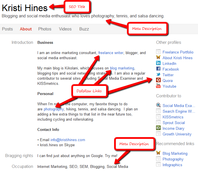 Google+ Profile Social Media SEO Optimization